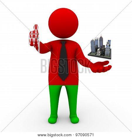 3d businessman people Belarus - Megalopolis and cities
