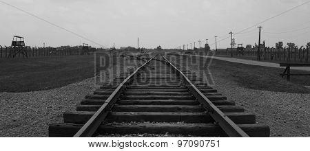 railway track in Auschwitz