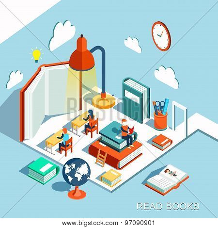 The concept of learning, read books in the classroom, isometric flat design vector