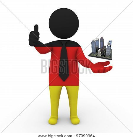 3d businessman people Germany - Megalopolis and cities