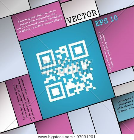Qr Code Icon Sign. Modern Flat Style For Your Design. Vector