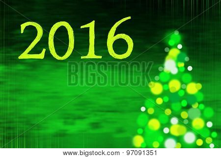 New Year Background With Christmas Tree And Writing 2016