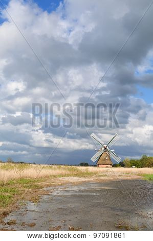 Dutch Windmill Bu River Over Beautiful Sky