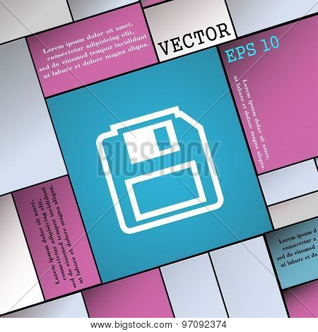 Floppy Disk Icon Sign. Modern Flat Style For Your Design. Vector