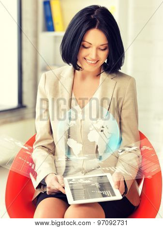 picture of happy woman with tablet pc showing virtual screen