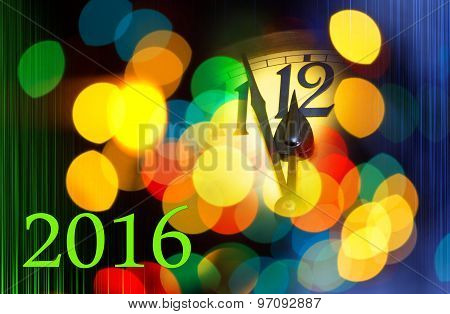New Year Clock With Text 2016