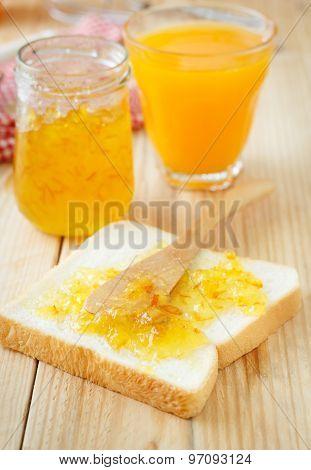 Breakfast With Bread, Jam And Orange Juice