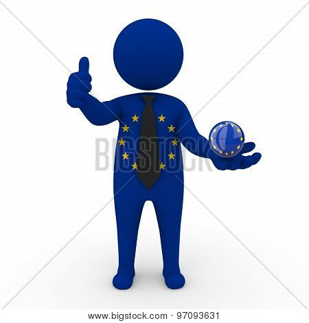 3d businessman people EC - in the hands of the spherical icon of EC