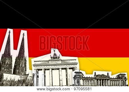 Flag Of Germany With Monument
