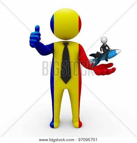 3d businessman people Romania  - with a missile in the hands and grow your business