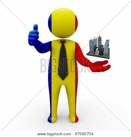 3d businessman people Romania - Megalopolis and cities