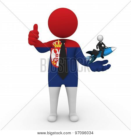 3d businessman people Serbia - with a missile in the hands and grow your business