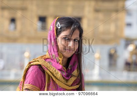Rajasthani Woman Visiting The Golden Temple In Amritsar, Punjab, India.