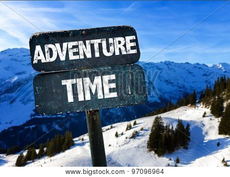 Adventure Time sign with sky background