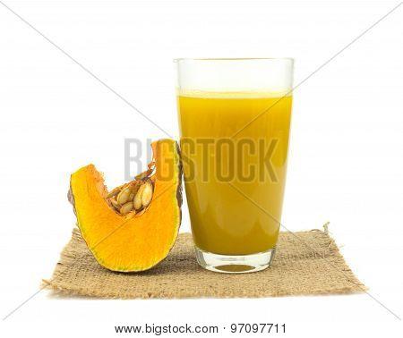Glass Of Pumpkin Juice On White