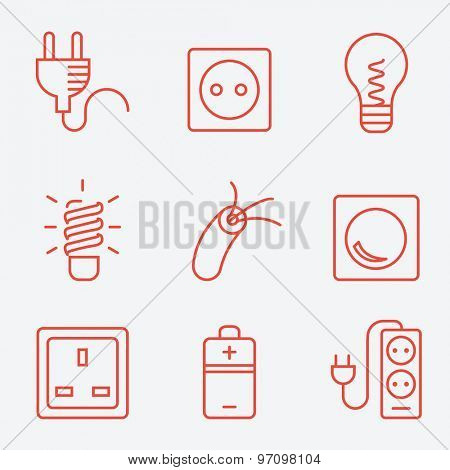 Electric accessories icons, thin line style, flat design