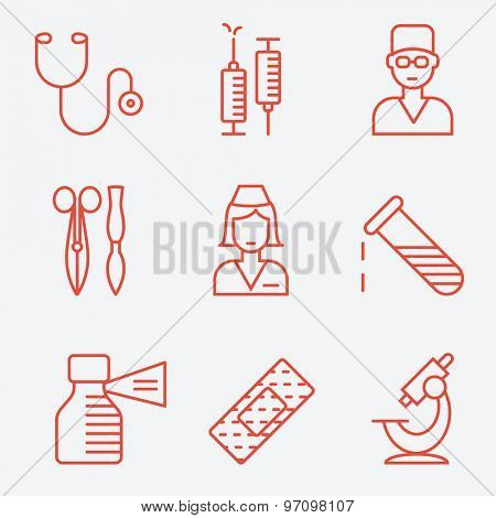 Medical and health care icons, thin line style, flat design