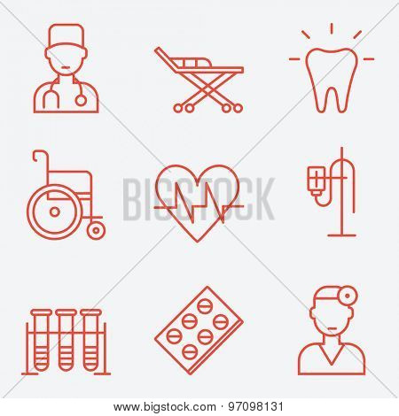 Medicine icons, thin line style, flat design