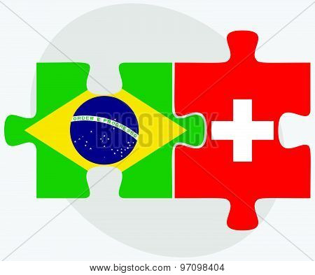 Brazil And Switzerland Flags