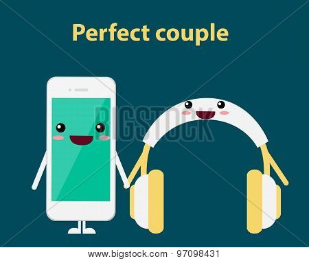 Perfect couple. Mobile phone and headphones. Vector illustration