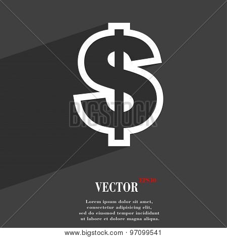 Dollar Icon Symbol Flat Modern Web Design With Long Shadow And Space For Your Text. Vector
