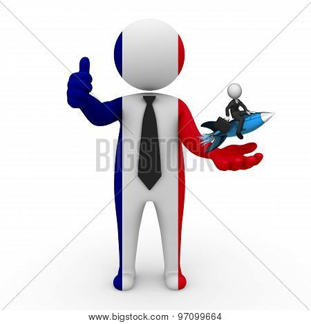 3d businessman people France- with a missile in the hands and grow your business