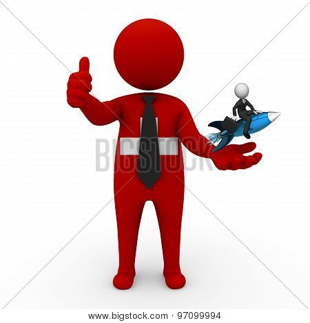 3d businessman people Switzerland - with a missile in the hands and grow your business