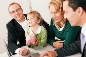 stock photo of family planning  - Family with their consultant  - JPG
