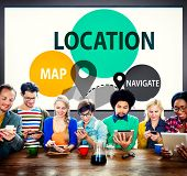 Location Destination Navigation Map Direction Concept poster