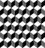 Black And White Geometric Seamless Pattern With Trapezoid And Diamond, Abstract Background. poster