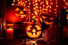 stock photo of antichrist  - Halloween lights in the dark - JPG