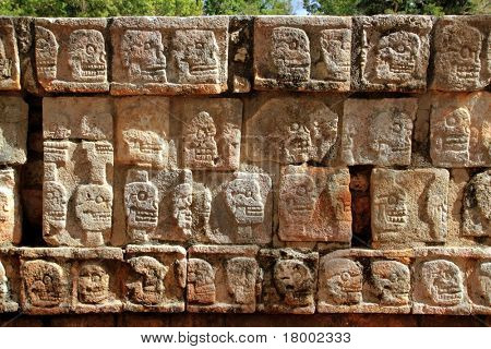 Chichen Itza Tzompantli the Wall of Skulls Mayan Yucatan Mexico