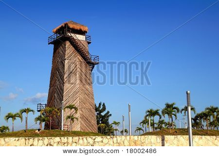 Cancun old airport control tower old wooden as a landmark monument