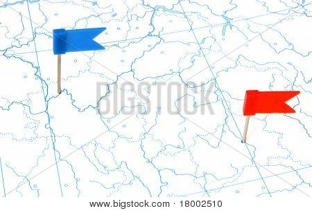 Flags On A Outline Map