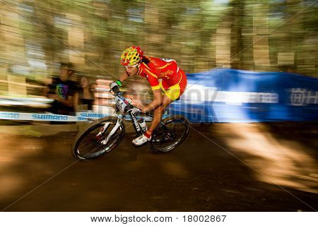 Motion Blur Spain Participant Riding Berm At Uci Mtb World Cup