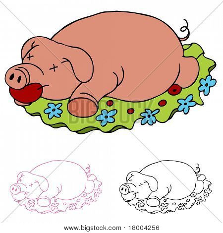 An image of a luau rosted pig.
