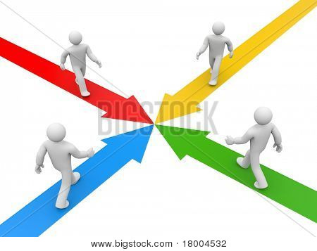 Partnership or competition metaphor. Image contain clipping path