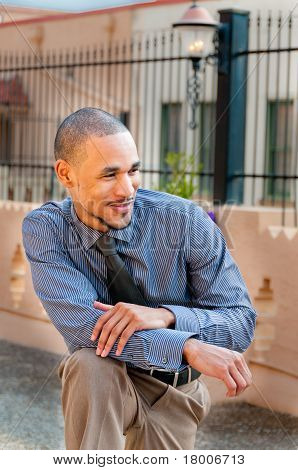 Young Professional African American In Casual, Relaxed Stance