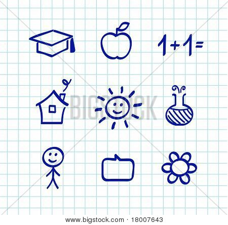 School Doodle Drawings And Icons - Isolated On White Paper Grid.
