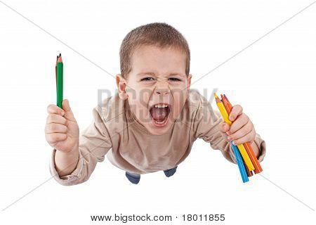 Happy Boy With Color Pencils
