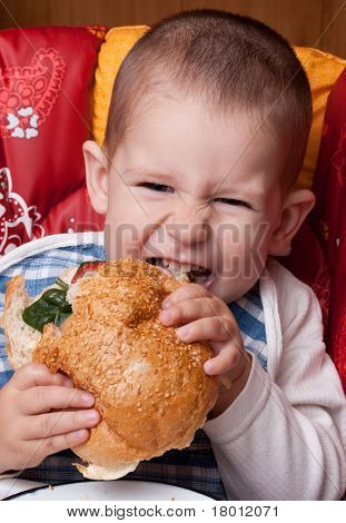 Little Boy Eating Hamburger