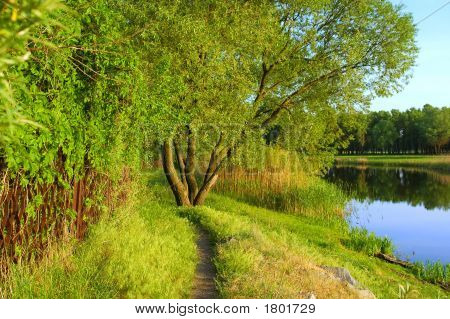 Country Track Near Beautiful Lake And House Fence