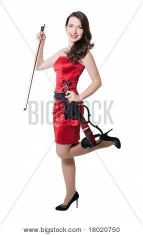 Violinist Girl In Red Dress
