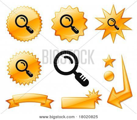 Magnifying Glass Icon on Orange Burst Banners and Medals Original Vector Illustration