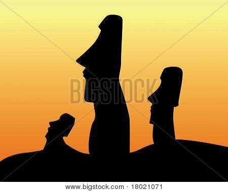 Black Silhouettes Of The Idols Of Easter Island