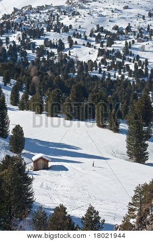 Ski Hut In Winter Forest Landscape