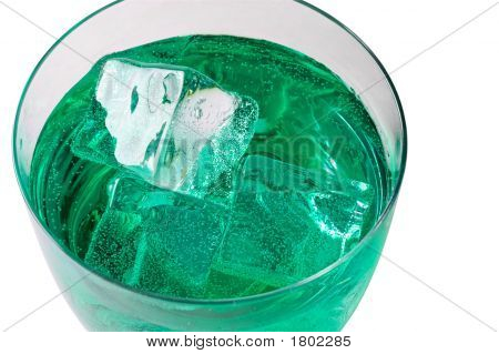Mint  Drink With Ice Cubes  (3) With Clipping Path