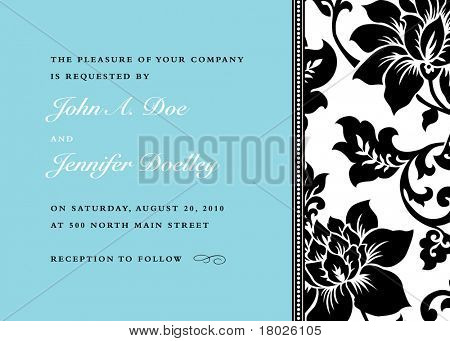 Vector Side Floral Pattern and Frame. Easy to edit. Perfect for invitations or announcements.