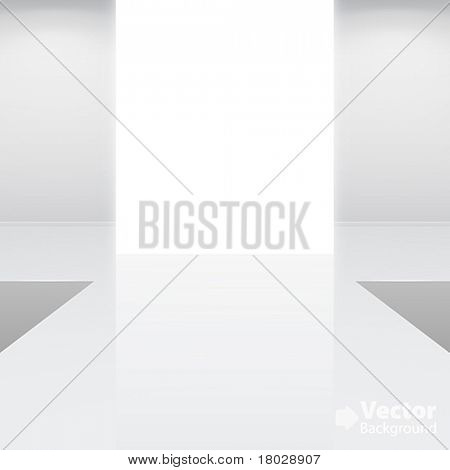 Empty white interior â?? fashion podium. Vector illustration