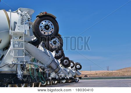 Row of Cement Trucks